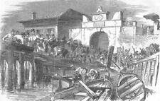 BULGARIA. Sea Port Gate, Varna-Turks moving ammo, antique print, 1854