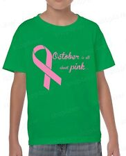 October is All About PINK Youth's T-Shirt Breast Cancer Awareness Shirts