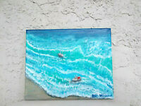 Original Acrylic Coastal/Beach  Ocean,Seascape  8x10 Stretched Canvas Wall Art
