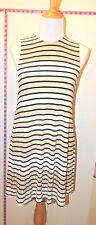 American Apparel Tan & Black Striped Sleeveless Crewneck Tank Dress Sz S #3073
