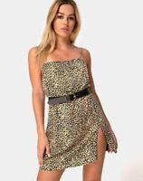 MOTEL ROCKS Datista Slip Dress in Rar Leopard Brown S Small   (mr19)
