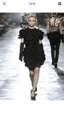 Lanvin for H&M black ruffle wool mix sleeveless formal dress size UK 8, EU34