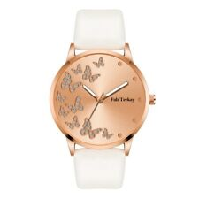 Dancing Butterflies Women's Wrist Watch Rose Gold Leather Strap Ladies Gift Box