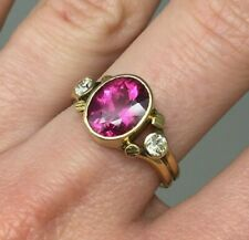 18K Gold Diamond & Oval Pink Tourmaline Ring