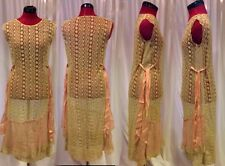 Vintage 20s Lace Dress Gown Pink Rose Paris Couture Gatsby Downton Deco Overlay