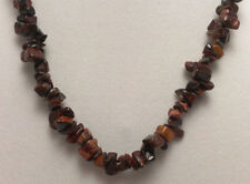 """*Authentic* Red Tiger's Eye Chip Bead Crystal 18"""" Necklace #22"""