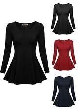 Womens Long Sleeve Career Top Tunic Scoop Neck Casual Slim T-shirt Peplum Blouse
