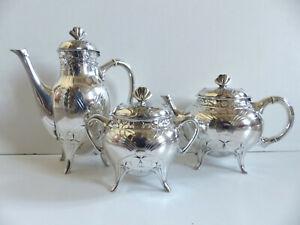 RARE & SUPERB ANTIQUE CHRISTOFLE GALLIA ART NOUVEAU TEA COFFEE SET 3 PIE. 1920's