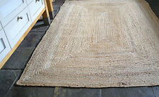 100% Jute Rectangle 3 sizes American Braided style rug. Reversible rustic look