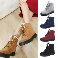 Women Autumn Winter Casual Flat Ankle Snow Boots Suede Leather Lace-Up Boot AUOC