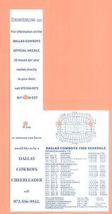 Dallas Cowboys 1998 Season Ticket Holder NFL GEM condition Schedule Emmitt Smith