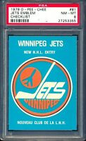 1979 80 OPC O PEE CHEE #81 Winnipeg Jets Emblem NHL ENTRY PSA 8 NM-MINT UNMARKED