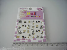 Nail tip Art stickers transfer water decals  Black  Cat Gold eyes + Crowns Jh34