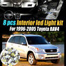 8Pc Super White Interior LED Light Bulb Kit Package for 1996-2005 Toyota RAV4