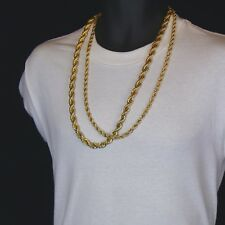 """Men's 24K Gold Plated 10mm & 7mm 30"""" Thick Rope Chain Hip Hop Style Set"""