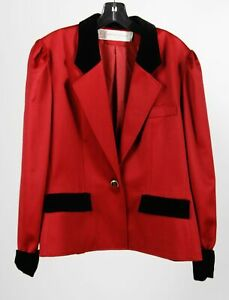 VTG Pierre Balmain Paris Made In France Red Black Wool Puff Sleeve Blazer