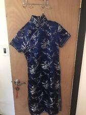 """blue floral kimono Japan Size M Woman 42"""" Long"""