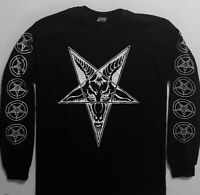 GOAT HEAD LongSleeve T shirt  w/ Sleeve prints Satanic Satan Witchcraft 2XL- 3XL