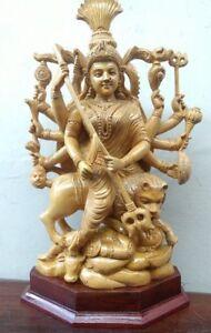 Durga Kali Devi Sculpture Wooden Statue Hindu Temple Figure Murti Killing Demon