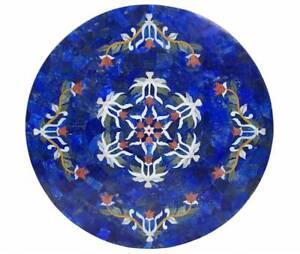 "36""  Marble Table Top Lapis Inlay Handmade Work Home Decor"