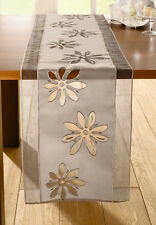 Tischläufer Organzablüte 40 cm x 160 cm, sandfarben, Tischdekoration, Blumen