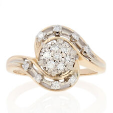 26ctw Single Cut Diamond Ring - 14k Yellow Gold Cluster Bypass