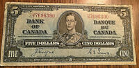 1937 CANADA 5 DOLLARS BANK NOTE - H/S - Coyne / Towers