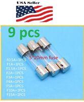 9 Pcs 250v Quick Blow Glass Fuses 5X20mm F0.5A 1A 1.5A 2A 3A 4A 5A 10A 15A