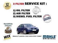 Para Renault Laguna 2.2 ICD 2000-5/2002 150bhp Aceite Aire Filtro De Combustible Kit De Servicio