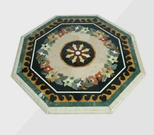 "42"" Marble Table Top Handmade Semi precious stones floral Work Home Decor"