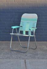 Vintage aqua beach chair fold out patio