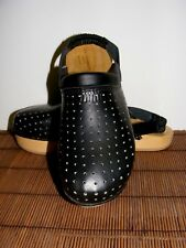 BRAND NEW! Italy- LEATHER  Black Clogs womens Sz 11 shoes wood soles slide ons