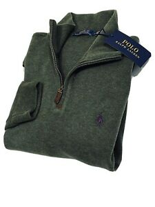 Ralph Lauren Men's Estate-Rib Quarter-Zip Pullover (Olive)  RRP £125