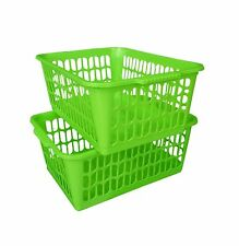 Set of 2 Large Plastic Handy Storage Baskets Kitchen Home Office Green ColourNEW