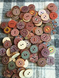 20 mixed 19.5mm boho inspired wooden sewing craft buttons 2 hole