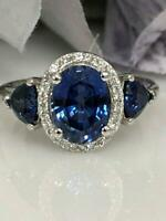 3ct Oval Cut Blue Sapphire 3 Stone Halo Engagement Ring 14k White Gold Finish