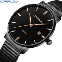 CRRJU Men Fashion Watch Date Display Mesh Strap Thin Dial Quartz Wristwatch 2213