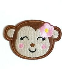 """Girl Monkey Patch Embroidered Iron On Applique 2.83"""" X 1.97"""" Pink Flower Baby"""