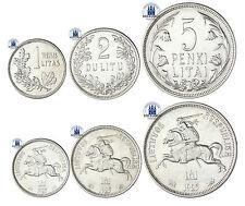 #988 Litauen Lot aus 3 Silbermünzen 1 Litas, 2 Litu & 5 Litai 1925 Silber Reiter