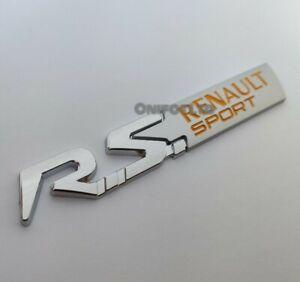 Silber Gelb Metall Rs Abzeichen Emblem für Renault Renaultsport Clio 197 Megane