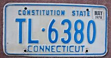 "CONNECTICUT 1978  LICENSE PLATE "" TL  6380 "" CONSTITUTION STATE  CT 78"