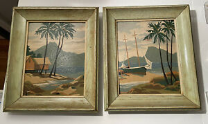 Vintage Paint by Numbers PBN Tropical Palm Trees Boat Polynesian Framed Set of 2
