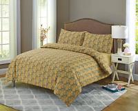 Super King Mustard Gold 100% Egyptian Cotton Printed Duvet Cover Sets/Quilt sets