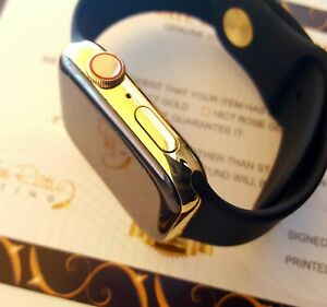 24ct Gold Plated 44MM Apple Watch Series 4 24ct Black Sports Band 24K Boxed