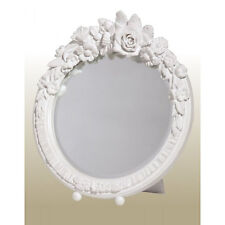 Floral White Shabby Chic Sturdy Round Standing Decorative Table Wall Mirror