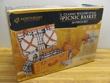 Classic Willow-Style Picnic Basket 30 Piece Set Serves 4 NEW