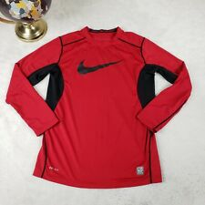 Nike Pro Combat Boys Lg Fitted T-shirt L/S Base Dri-Fit Athletic Football Red