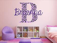 "Custom Color Cheetah Monogram Name Girls Room Vinyl Wall Decal Graphics 22"" tall"