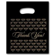 100 Small Black Gold Jewelry Thank You Plastic Merchandise Shopping Bags
