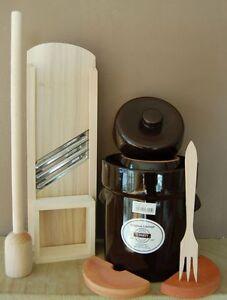 10 lt. Fermentation crock pot + Cabbage slicer, fork, masher  from Germany